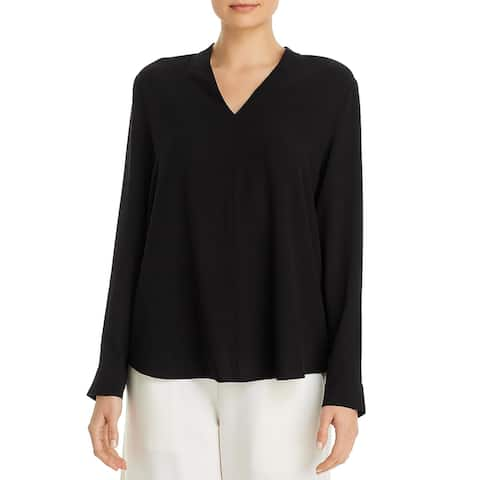 Eileen Fisher Womens Petites Blouse High-Low V-Neck - Black