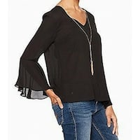 BCX Black Womens Medium M Necklace Embellished Bell Sleeve Blouse