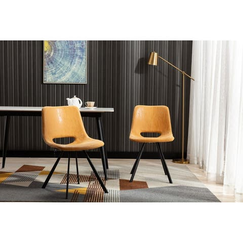 Home Beyond Synthetic Leather Dining Chairs Set of 2 PC Tan UC-14T - 20'' H x 14.5'' W x 20'' D