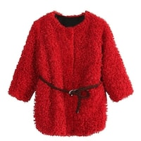 Richie House Little Girls Red Braided Belt Retro Shag Jacket 3-6