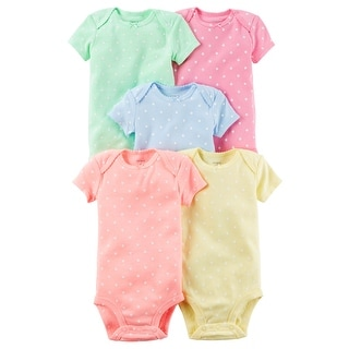 Carter's Baby Girls' 5 Multi-Pack Bodysuits, Polka Dot, Newborn