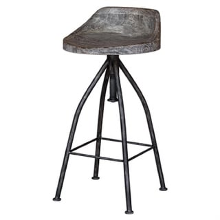 "35"" Kairu Blackened Zinc Iron with Wooden Gray Glazed Finish Seat and Swivel Screw Bar Stool"