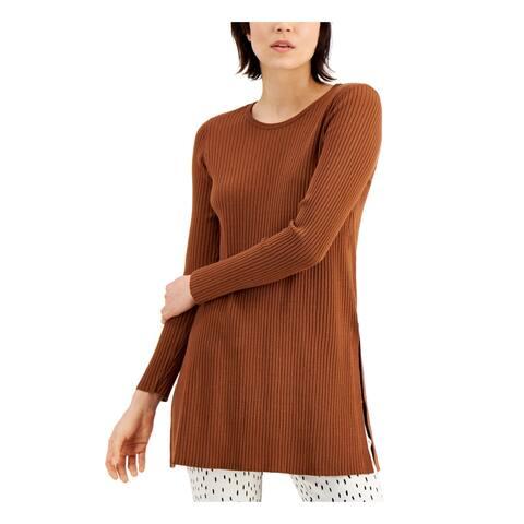 ALFANI Womens Brown Long Sleeve Scoop Neck Tunic Sweater Size L