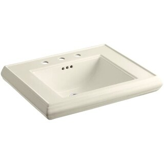 "Kohler K-2259-8 Memoirs Classic 27"" Fireclay Pedestal Bathroom Sink with 3 Holes Drilled and Overflow (3 options available)"