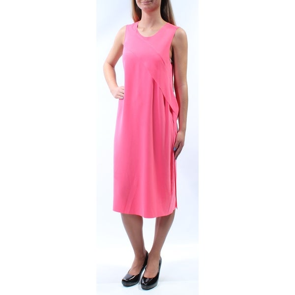 TAHARI Womens Pink Keyhole Back Sleeveless Jewel Neck Below The Knee Shift Dress Size: XS