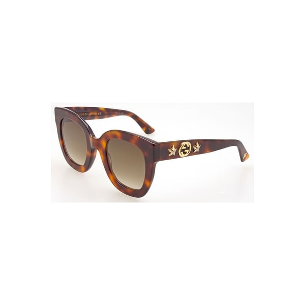 19757b73fad Shop Gucci Gg 0208S 003 Havana Plastic Fashion Sunglasses Brown Gradient  Lens - One Size - Free Shipping Today - Overstock - 24266438