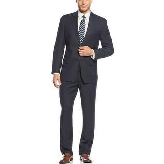 Izod Dark Navy Blue Textured 2-pc Suit 41 Regular 41R Pleated Pants 34W