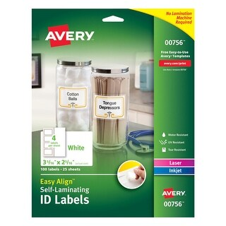 Avery Labels Self Laminating ID 2 5/16 IN X 3 5/16 IN White Pack of 100