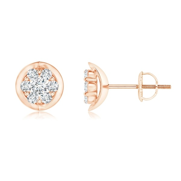 Angara 14K Rose Gold Diamond Hoop Earrings