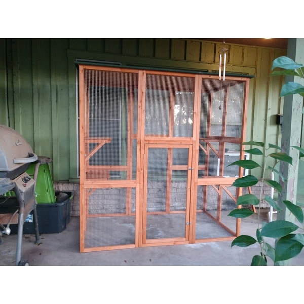 Pawhut Large Wooden Outdoor Cat Enclosure Cage With 6 Platforms Free Shipping Today 22503163