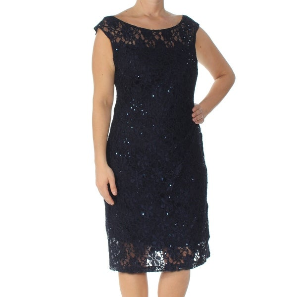 CONNECTED Womens Navy Embellished Check Sleeveless Boat Neck Below The Knee Body Con Cocktail Dress Size: 12