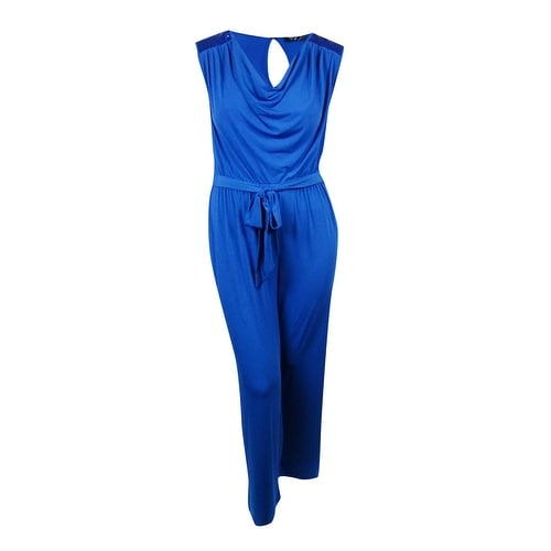 e0d9067c442 Shop Spense Women s Sequined-Shoulders Belted Jersey Jumpsuit - Blue Royal  - 14W - On Sale - Free Shipping Today - Overstock - 14812645