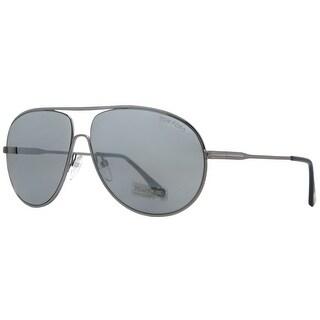 Tom Ford Cliff TF 450 14C Shiny Ruthenium Gray Smoke Mirror Aviator Sunglasses - shiny ruthenium - 61mm-11mm-140mm