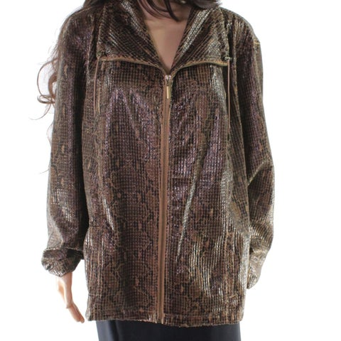 Ruby Rd. Brown Women Size 24W Plus Snake Skin Print Textured Jacket