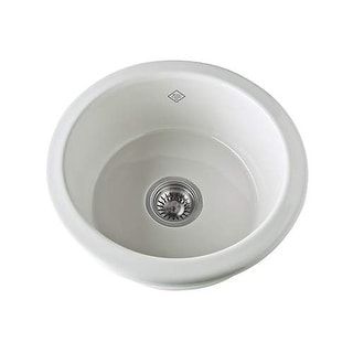 "Rohl UM1807 Shaws Original 15-1/8"" Single Basin Undermount or Drop-In Fireclay B - White"