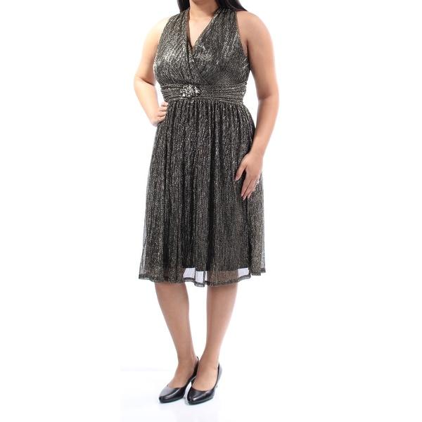 37dfd7a577 Womens Gold Sleeveless Below The Knee Empire Waist Formal Dress Size: 14