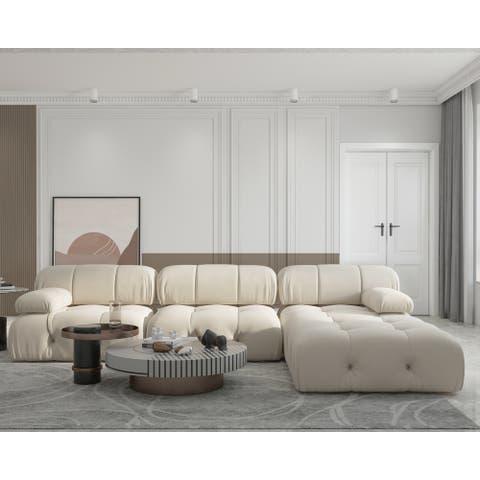 Convertible Modular Sectional Sofa with Ottomans
