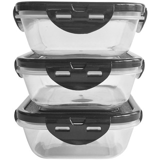 6 Pack Fitness 20 oz. Sure Seal Containers 3-Pack - Clear/Black