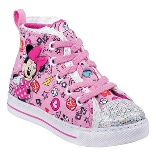 Josmo Girls' O-CH17283 Minnie Mouse High Top Canvas Sneaker Pink/Multicolor