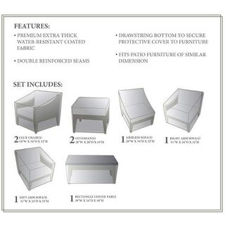 Miseno MPF-MHTN08AWC NYC 8-Piece Canvas Winter Cover for the MPF-MHTN08A Outdoor Conversation Set - beige