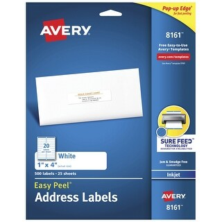 Avery Easy Peel Permanent-Adhesive Address Labels For Inkjet Printers, 1 x 4 in, White, Pack of 500
