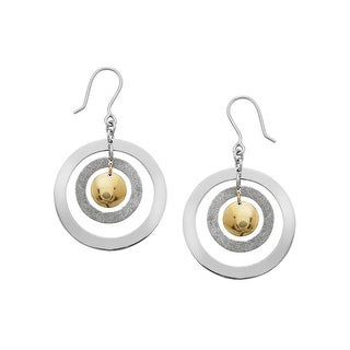 Textured Round Drop Earrings in Sterling Silver & 14K Gold - Two-tone