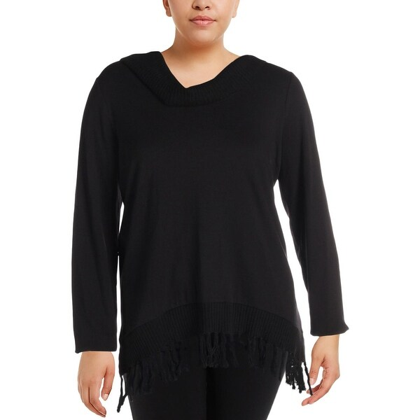 26a73b8ba8e Shop Rafaella Womens Plus Pullover Sweater Fringe Long Sleeves ...