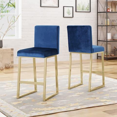 Toucanet Modern Glam Velvet Barstools (Set of 2) by Christopher Knight Home
