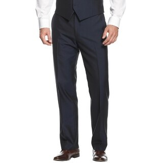 Alfani Red Label Slim Fit Textured Flat Front Dress Pants Navy Blue 36W x 30L