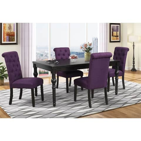 Leviton Urban Style Wood Dark Wash Turned-Leg Dining Set: Table and 4 Chairs