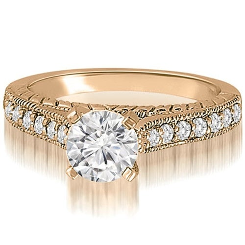 1.03 cttw. 14K Rose Gold Milgrain Cathedral Round Cut Diamond Engagement Ring