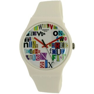 Swatch Men's Voice Of Freedom SUOW132 White Rubber Swiss Quartz Dress Watch