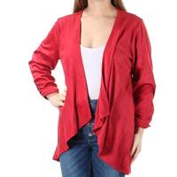 NY COLLECTION Womens Red Faux Suede Long Sleeve Open Top  Size: M