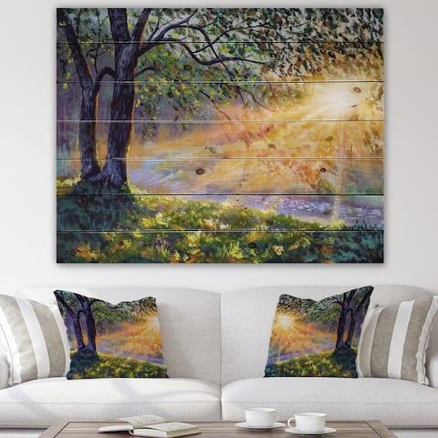 Designart 'Dawn Sunshine Light By The River' Farmhouse Print on Natural Pine Wood