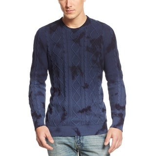 INC International Concepts Acid Wash Cable Knit Sweater Small S Ink Blue