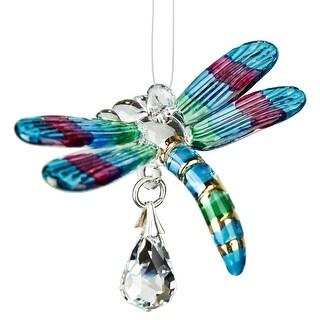 Woodstock Chimes Rainbow Maker Fantasy Glass Dragonfly Suncatcher, Spring Pastels