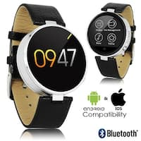 2017 Round Leather Deluxe Bluetooth Sync SmartWatch + Push Notifications + Heart Rate Sensor + Pedometer (iOS & Android)