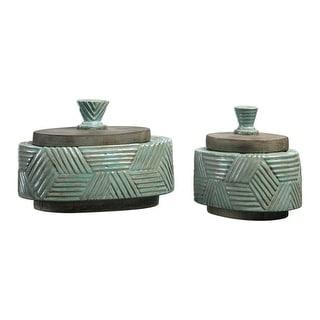 "Set of 2 Ruth Ceramic Boxes 8.5"" - N/A"