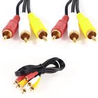 Unique Bargains 1.5M 4.9ft 3RCA Male to 3RCA Male M/M Audio Video Cable Cord Lead Black