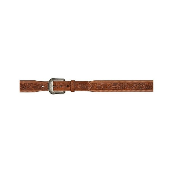 3D Belt Mens Western Leather Acorn Tooled Tapered Natural