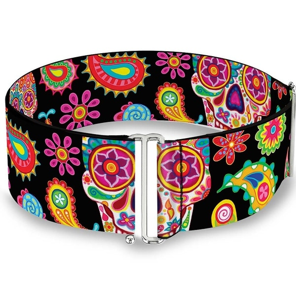 Bobo Sugar Skull Paisley Black Multi Color Cinch Waist Belt ONE SIZE