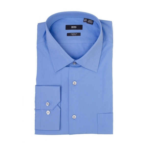 cea985460 Shop Hugo Boss Men's Cotton Regular Fit Two Ply Dress Shirt Blue - Free  Shipping Today - Overstock - 22316758