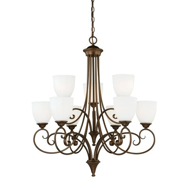 Vaxcel Lighting H0083 Claret 9 Light Two Tier Chandelier with Etched Glass Shades - 30.75 Inches Wide - Venetian Bronze