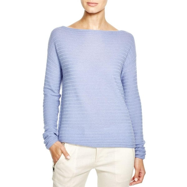 Vince Womens Pullover Sweater Cashmere Horizontal Ribbed