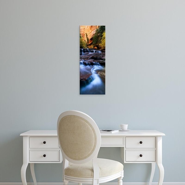 Easy Art Prints Panoramic Image 'Waterfall in a forest, North Creek, Zion National Park, Utah, USA' Premium Canvas Art