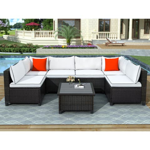 Sectional Outdoor Furniture Set with Cushions and Accent Pillows