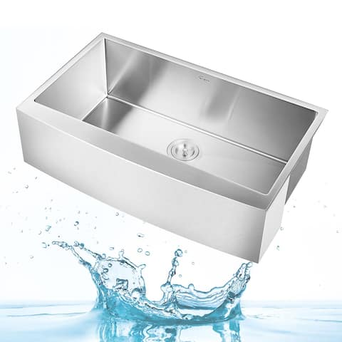 """Empava 33"""" W x 20"""" L Handmade Stainless Steel Laundry Sink Farmhouse Curved Apron Front Single Bowl with Basket Strainer"""