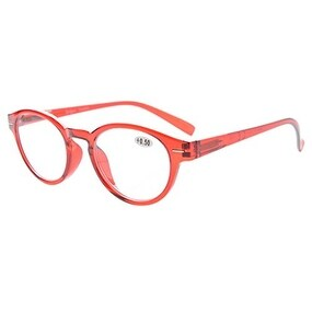 Eyekepper Retro Key Hole Oval Round Readers Spring-Hinges Reading Glasses Red +0.75