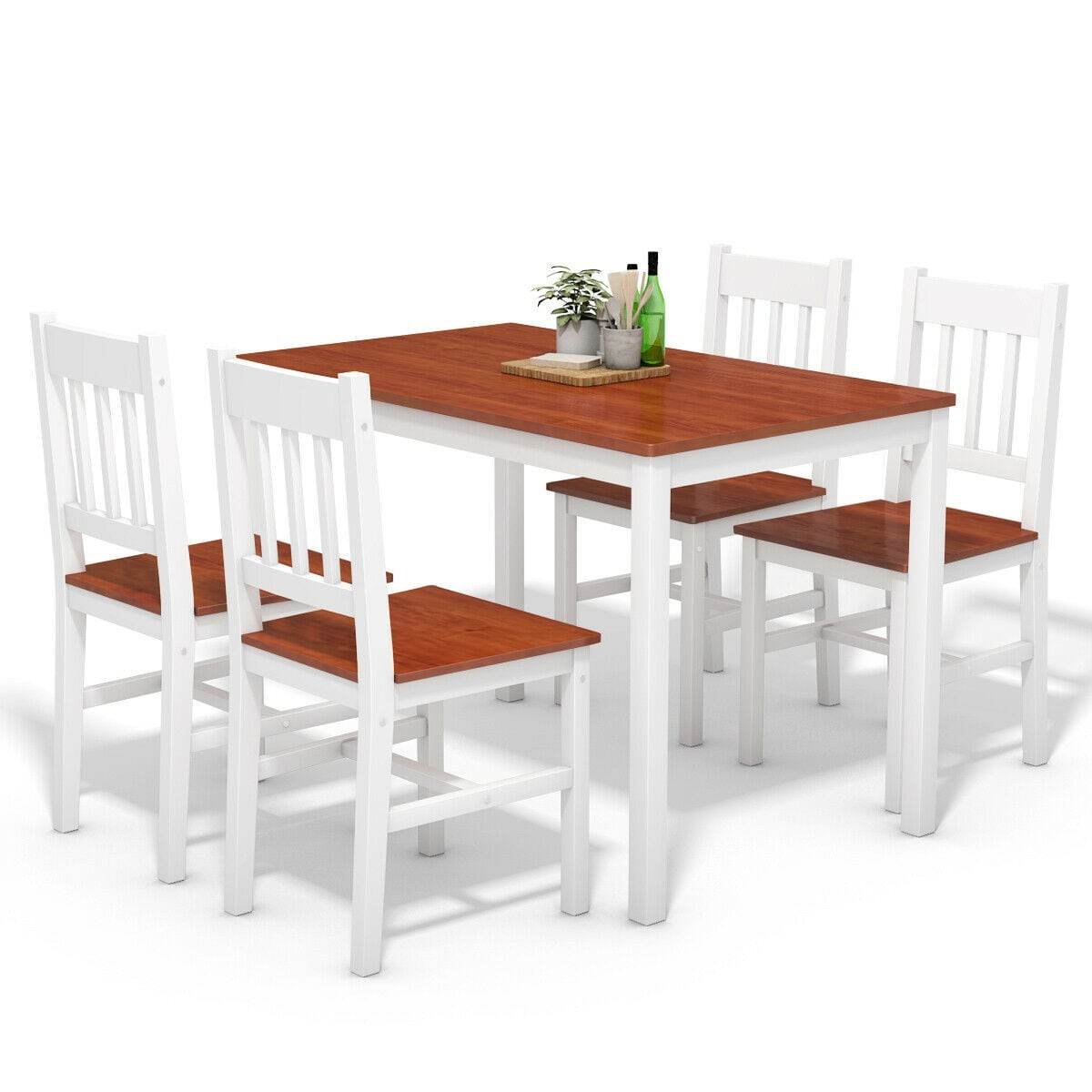 Costway 5pcs Pine Wood Dinette Dining Set Table And 4 Chairs Home Kitchen Furniture White Brown
