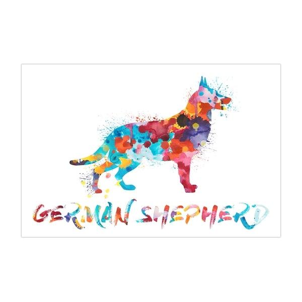 German Shepherd Dog and Cat Watercolor Splatter Art Matte Poster 24x16